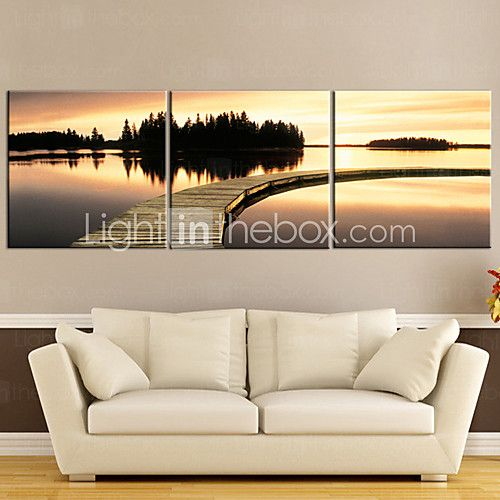 E-Home® Stretched Canvas Art Sunset Waterside Set of 3 2017 - $62.99