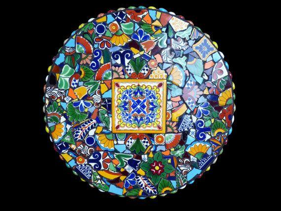 I love Talavera style decor - 15 Inch Southwestern Mosaic Lazy Susan by KateSutcliffeMosaics, $175.00