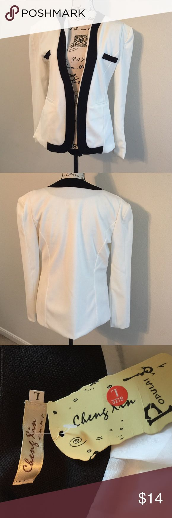 Light dressy jacket Light weight white with black accents jacket. It's a small. Jackets & Coats Jean Jackets