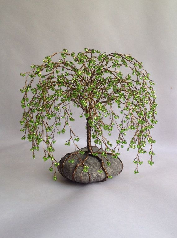 Weeping Willlow Tree Scuplture Beaded Wire Tree Decoration Unique gift Glass beads Green Custom made