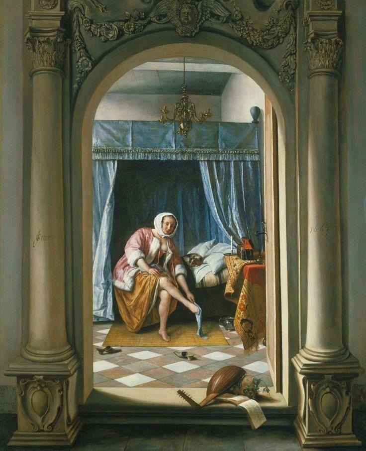 Дама за туалетом Ян Стен 1663, 65.7×53 см