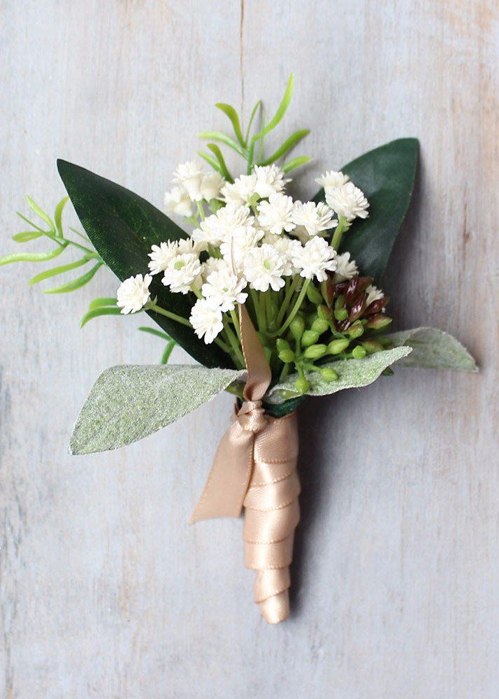 $19.99 4 pack of Cream Baby's Breath Boutonniere | Rustic Wedding | Afloral.com