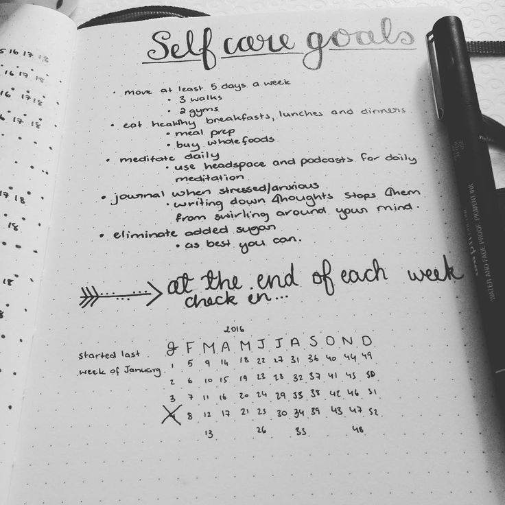 self care healthy goals  This year I want to look after me. I've created this list of goals with a weekly check-in reminder in my weekly log. Each week I achieve these goals I get to cross it off on the yearly log. Love the simplicity of this page