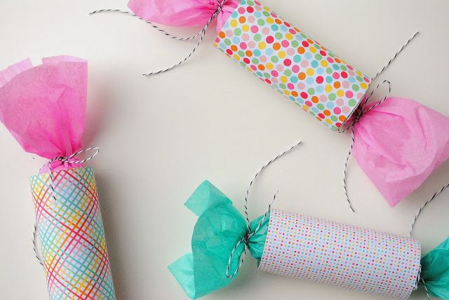 How to make simple party crackers from recycling toilet paper tubes.