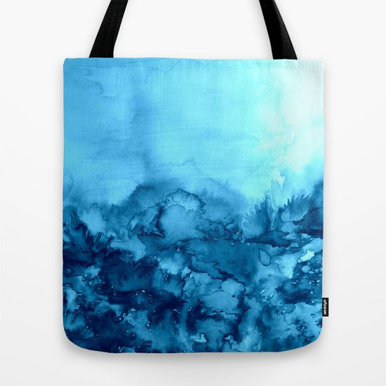 """""""Into Eternity, Turquoise"""" by Ebi Emporium #Society6, Fine Art Abstract Watercolor Painting Modern Fashionable Style for Women Canvas Tote Bag Stylish Contemporary Indigo Navy Royal Blue Aqua Cerulean Turquoise Whimsical Landscape Summer #EbiEmporium #colorful #fineart #totebag #artbag #canvas #tote #blue #aqua #cerulean #turquoise #nature #outdoors #watercolor #painting #blue #contemporary"""