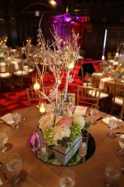 Elegant wedding centerpiece of silver manzanita branches