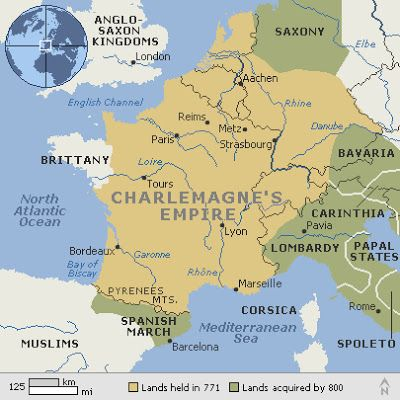 Map of Charlemagne' Empire, circa 800 AD. Charlemagne 2 April 742/747/748 – 28 January 814), also known as Charles the Great or Charles I, was the King of the Franks from 768, the King of Italy from 774, and from 800 the first emperor in western Europe since the collapse of the Western Roman Empire three centuries earlier. The expanded Frankish state he founded is called the Carolingian Empire.