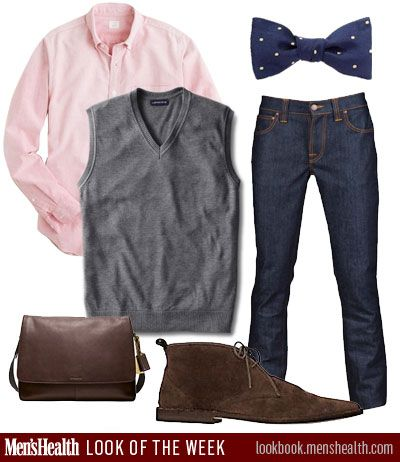 Shirt: J.Crew; Bag and shoes: Coach; Jeans: Nudie, Atrium NYC exclusive; Vest: Land's End; Tie: Brooks Brothers