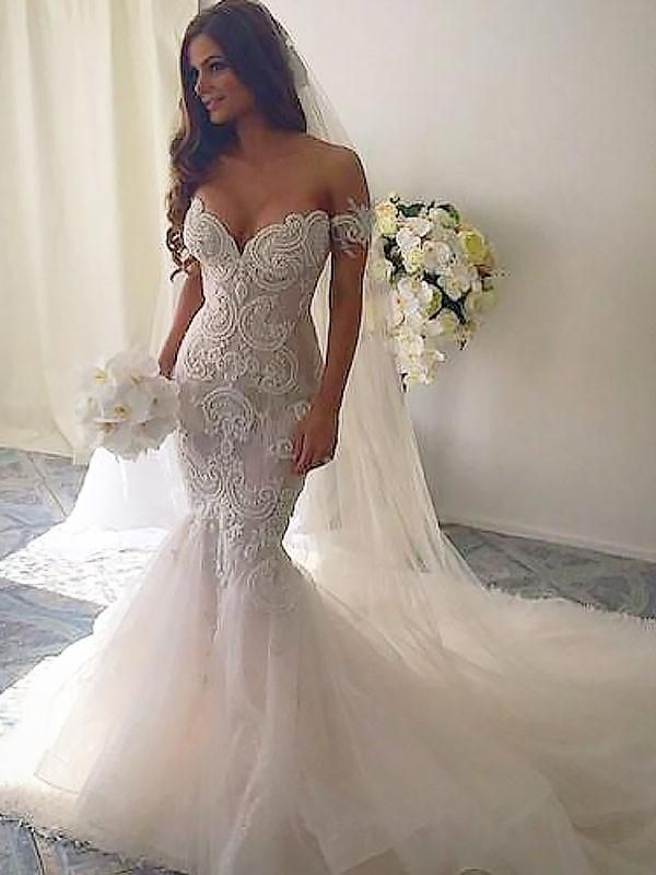 Sexy Off Shoulder Backless Lace Mermaid Wedding Dresses Online