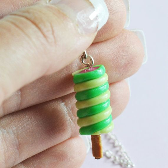 Handmade Twister Ice Cream Charm Available on Necklace