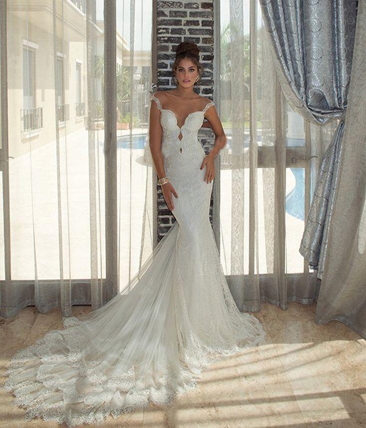 Temporada romântico sexy lace querida sereia vestido de noiva com cristal 2016 New Arrival mangas apliques vestido de noiva alishoppbrasil