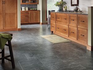 New floors coming next week!  Laminate slate tile for kitchen, dining, hall.  Evening Mist by Columbia Floors.