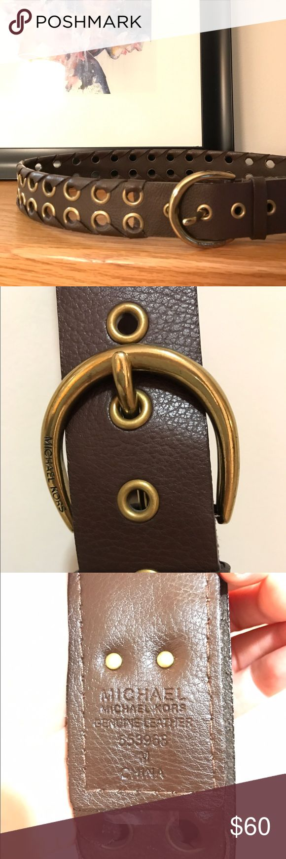 Brown & Gold Michael Kors belt Genuine brown leather belt with gold embellishments MICHAEL Michael Kors Accessories Belts