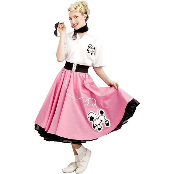 Black 50's Adult Poodle Skirt Costume Womens ($80) ❤ liked on Polyvore featuring costumes, halloween costumes, multicolor, grand heritage costume, adult costume, black costume, colorful costumes and black halloween costumes