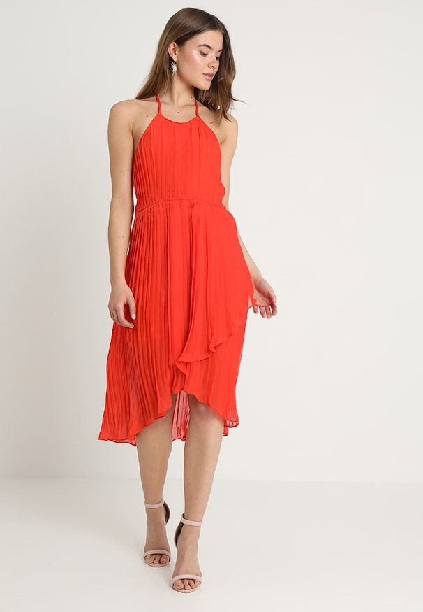 Zalando Maxi Jurk.Pleated Halterneck Midi Dress Maxi Jurk Orange Zalando Be