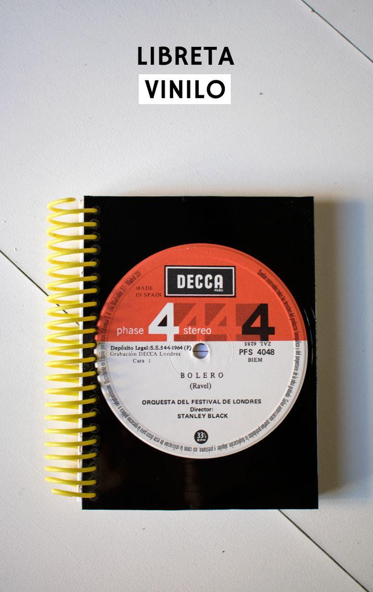Tutorial sobre cómo personalizar una libreta reutilizando un disco de vinilo. Upcycling reciclar bloc de notas DIY Trash To Treasure, American Crafts, Repurposed, Recycling, Diy Crafts, Invitations, Messages, Crafty, Memes