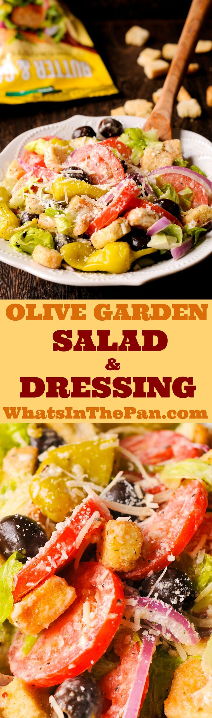 Olive Garden Salad and Dressing, Italian salad, #copycat