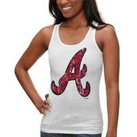Majestic Threads Atlanta Braves Women's Oversized Logo Tri-Blend Tank Top