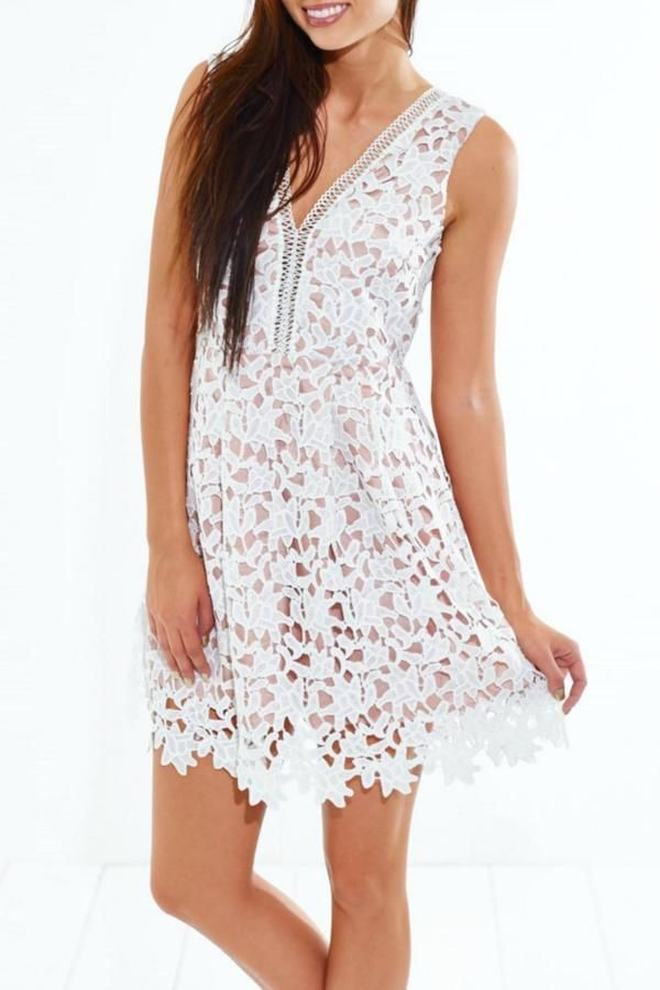This gorgeous white crochet dress is perfect for date night.