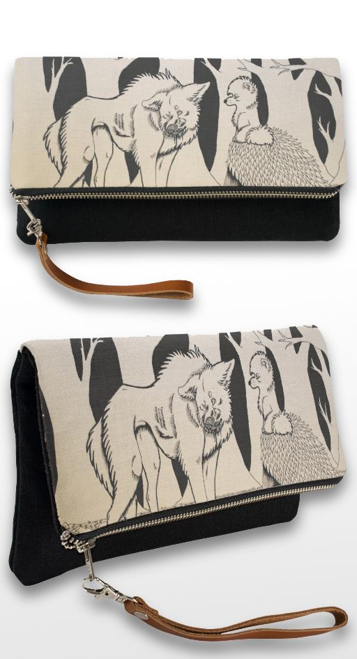 """You Made a Mess"" Black and white illustrated wolf and dog couple clutch bag"