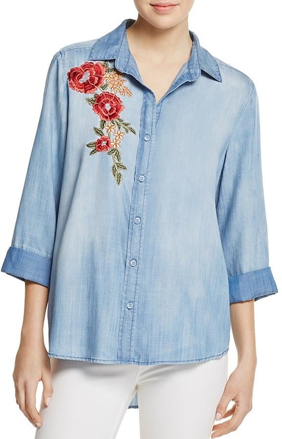 AQUA Button Down Embroidered Chambray Shirt {worn by Camryn Grimes' Mariah ♥ The Young + The Restless}