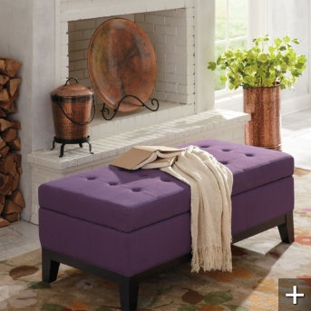 grandin road linley fabric storage ottoman also in latte and blue
