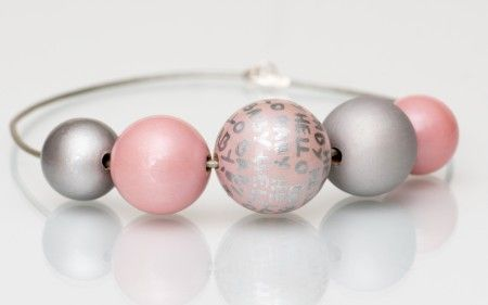 pink#wooden balls#hand painted#baby shower#yewellery#silver