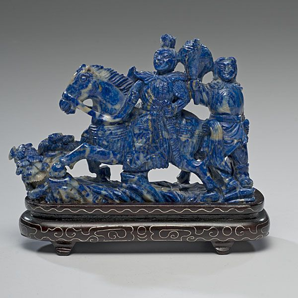 Chinese Lapis Carving of Warrior - Cowan's Auctions