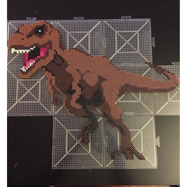 T-Rex dinosaur perler beads by misscrystal15