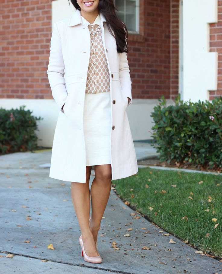 J.Crew lady day coat, white pencil skirt, honeycomb cardigan, nude louboutin pum…