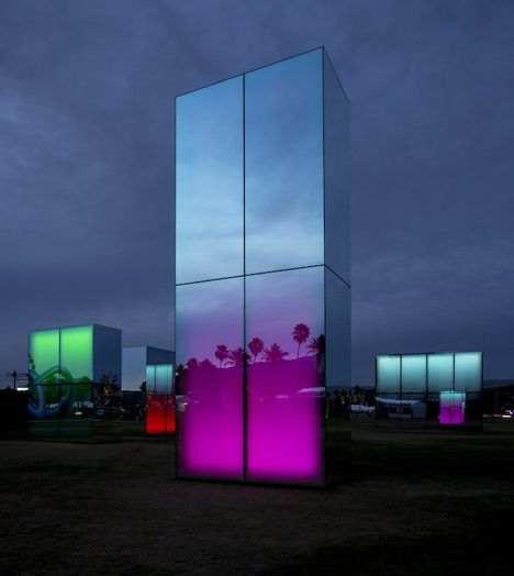 Reflection Field by Phillip K Smith III is an installation of glowing neon mirrors for Coachella.
