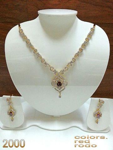 AMERICAN DIAMOND NECKLACE SET WITH PEARLS #Jewellery #Kurtis