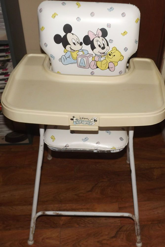 rare vintage disney babies mickey mouse minnie mouse high chair made in usa
