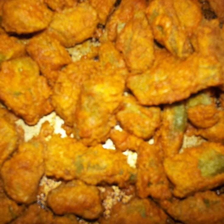 Bea's oven fried okra- you can also do squash the same way.  Be sure to check out the grilled okra as well as boiled okra below.