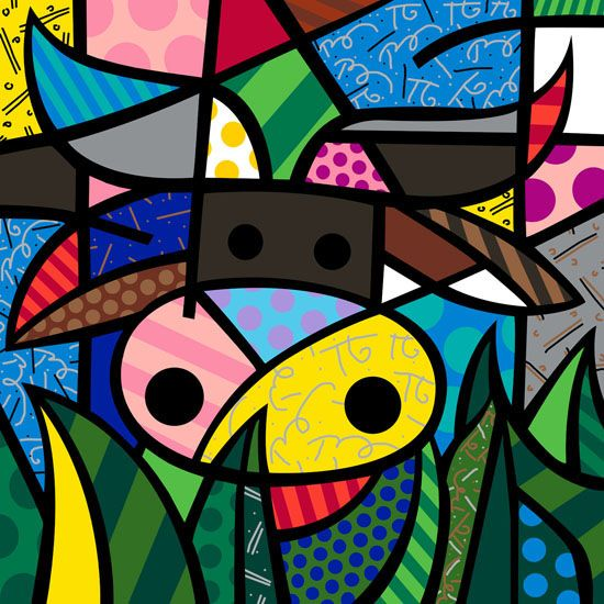 """Romero Britto. My Cow 2006 30"""" x 40"""" Mixed Media giclee on canvas, edition of 60, hand embellished by Romero Britto."""