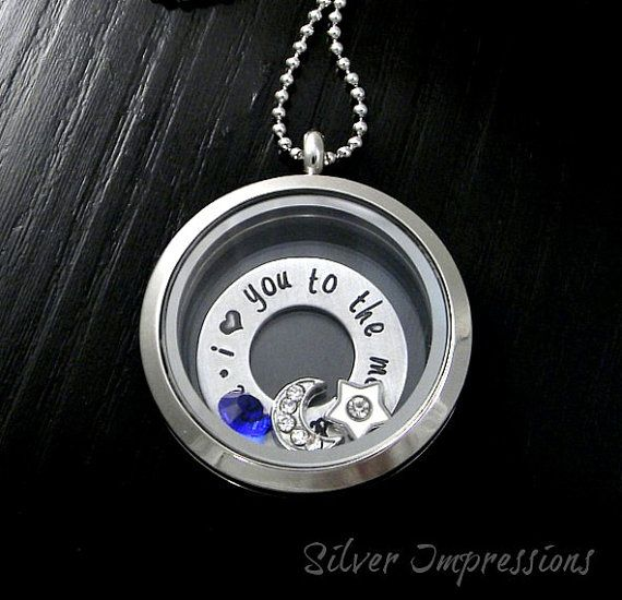 I love you to the moon and back / Floating Locket / Personalized Hand Stamped Jewelry by Silver Impressions