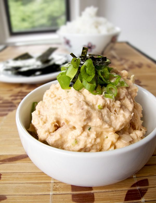 """Japanese Spicy Tuna Salad over White Rice......perhaps I should try this with """"cauliflower rice""""?? Yes!"""