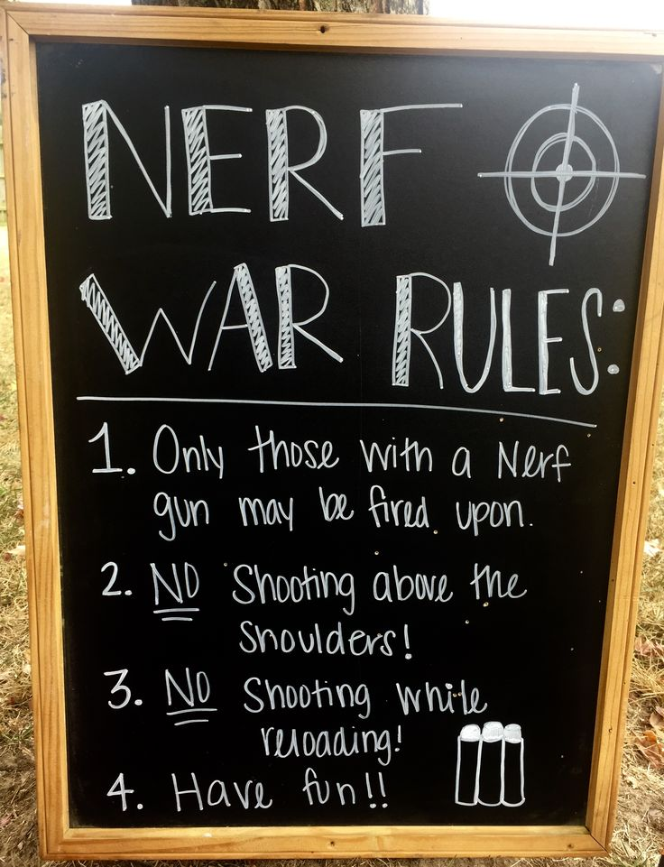 Nerf War Rules- Use chalkboard and combine with other rules