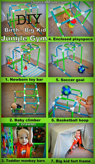 DIY Jungle Gym that grows with your child from birth to big kid. Can be used as a newborn toy bar, a crawling space and walking support toy for babies, monkey bars for toddler, plus a soccer goal, basketball hoop, and fort frame for big kids.