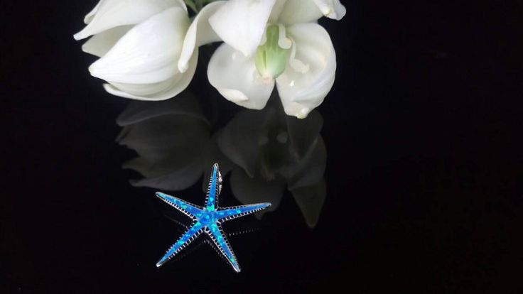 Greek Jewelry Starfish Blue Opal Pendant by ThetisTreasures