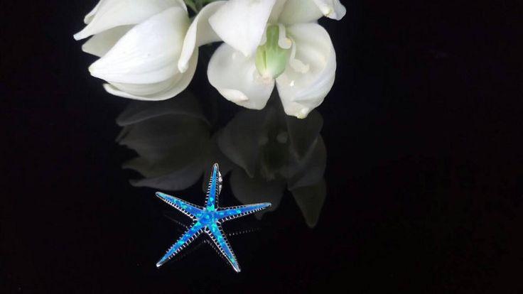 Greek Jewelry Starfish Blue Opal Pendant by ThetisTreasures