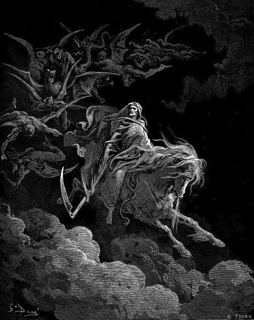 "Gustav Doré's ""Death on a Pale Horse"" - wood engraving"