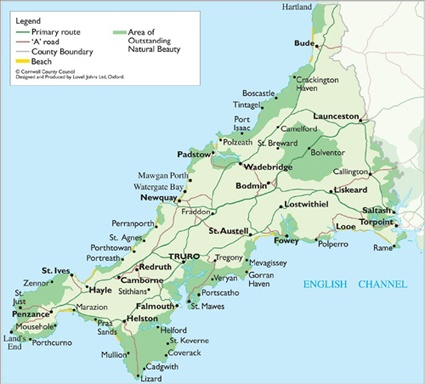 Cornwall Map..my ancestors come from Redruth and Sithney.