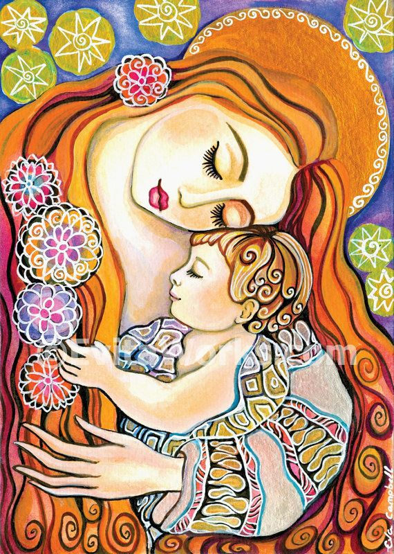 Mother and child painting, mothers love, baby room ideas, nursery print, Madonna and child, signed print - 5x7 7x10