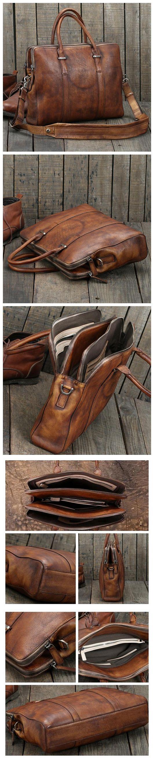 Handmade Vintage Brown Leather Briefcase Men's Business Bag Handbag Fashion Laptop Bag 14119