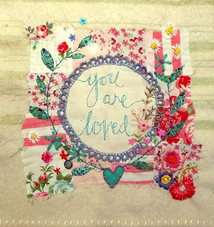 Bibliboo by Emily Henson textile art You are loved quote vintage fabrics hand embroidery