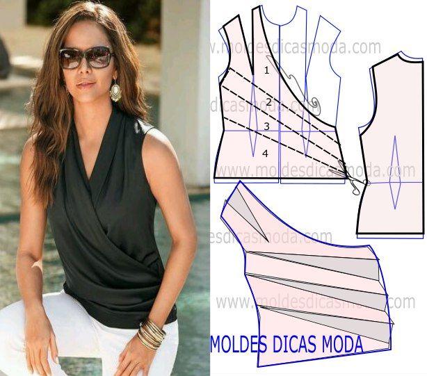 Moldes-para-hacer-blusas-de-cuello-drapeado02.jpg (614×541)