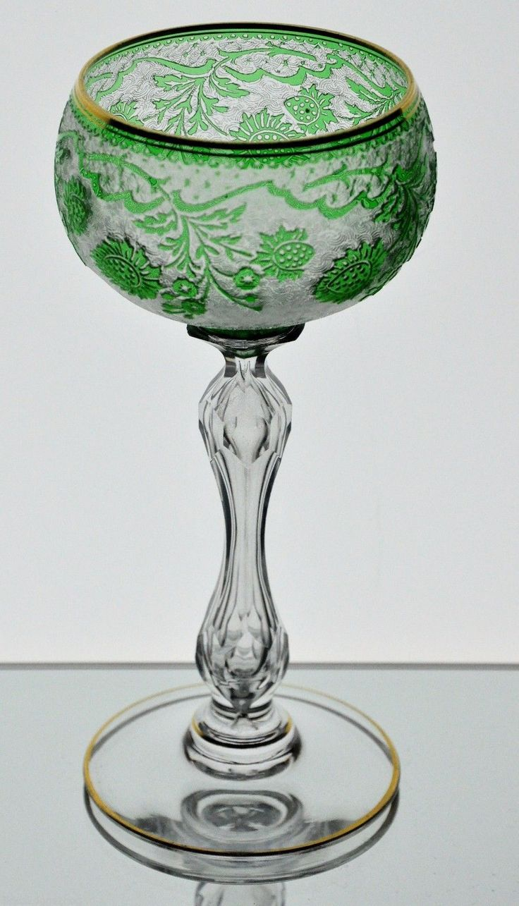 Co color art st louis - Baccarat St Louis Emerald Green Cut To Clear Acid Cut Cameo Goblet Vintage
