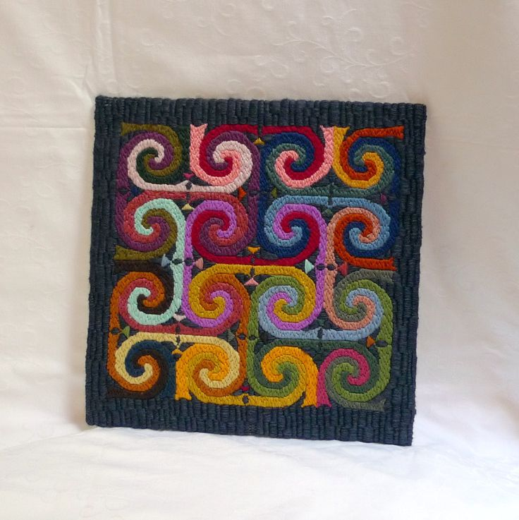 Celtic Spirals embroidery, handmade colorful celtic spiral pattern wall art, fibre art, stretch-mounted on cardboard, framable gift for home by FormerlyFleece on Etsy