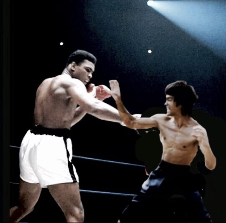 Another Photo of Muhumed Ali and Bruce Lee merged. Notice Bruce Lee's left arm, missing below the elbow. Ali has his wrappings but no gloves. Only 1 hand is visible. The arena would have been sold out, it is empty. The spotlights aren't,on as they would be, evening for practice. The ropes appear illusory? No foot work shown, both were well known for very specialized forms of foot work. Ali was a dancer. His footwork was constant he wasn't a stand and slug it out Fighter. That made many…
